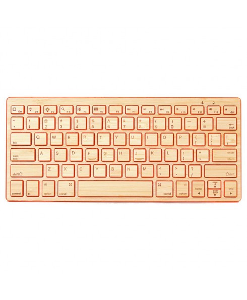 IMPECCA Compact Bluetooth Wireless Bamboo Keyboard, Orange