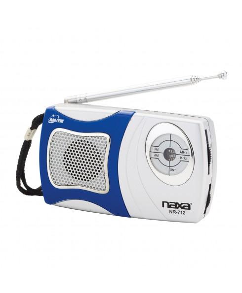 NAXA AM/FM POCKET RADIO W/SPEAKER, BLUE
