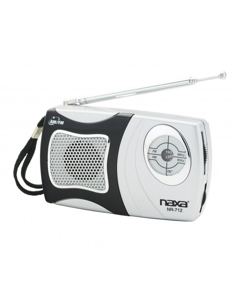NAXA AM/FM POCKET RADIO W/SPEAKER, BLACK