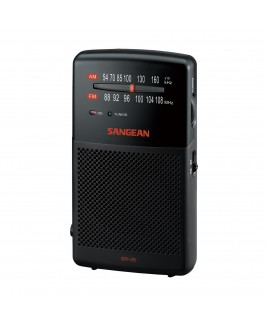Sangean AM/FM Stereo Analog Tuning Hand-Held Radio with Built-in Speaker, Black