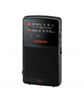 Sangean AM/FM Stereo Analog Tuning Hand-Held Radio with Built-in Speaker, Black