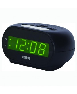 "RCA Single Wake Alarm Clock with 0.7"" Green LED Display"