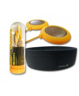 HALO Headphones Headphones Kids, Yellow Speakers plus Black Headband