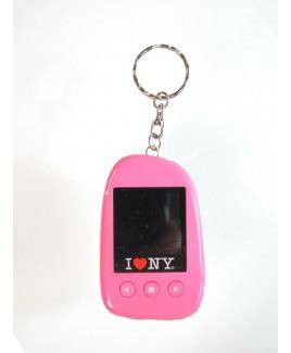"""I Love NY DPV151 1.5"""" Digital Photo Keychain Hold up to 107 Photos - Pink"""
