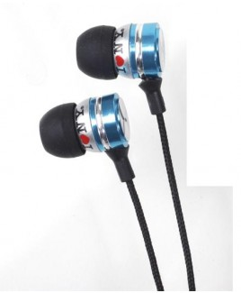 I Love NY EB301 Metal Stereo Earbuds - Blue
