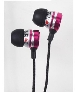 I Love NY EB301 Metal Stereo Earbuds - Pink