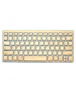 IMPECCA Compact Bluetooth Wireless Bamboo Keyboard, Blue
