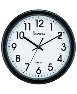 IMPECCA 12 Inch Quiet Movement Wall Clock - Black