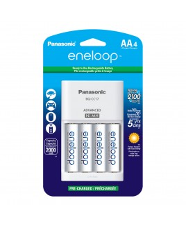 Panasonic 4 Position Advanced Charger + eneloop AA 4-Pack 2100 Cycle Rechargeable Batteries