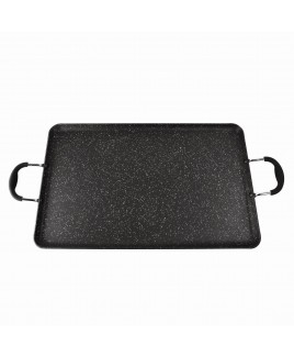 2-GIG 20 inch 3.5mm Edge Heavy Duty Aluminum Double Griddle with Soft Touch Handle, Black
