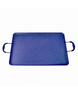 Kung Fu 20 inch 3.5mm Edge Heavy Duty Aluminum Double Griddle with Soft Touch Handle, Blue