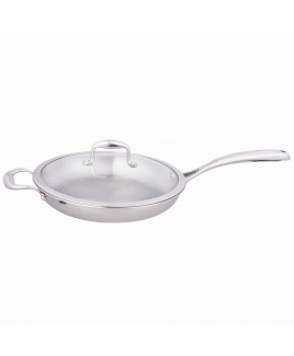 Kung Fu 11 inch 2.5mm Edge Full Stainless Steel Fry Pan with Glass Lid