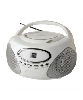 Sylvania Portable AM/FM CD Boombox with AUX Line-in, White