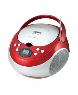 Naxa Portable CD Player with AM/FM Stereo Radio. Red