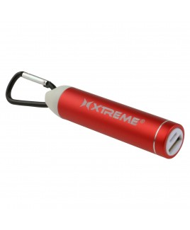 Xtreme 2600mAh Metallic Battery Bank with Carabiner, Red