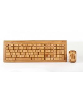 IMPECCA KBB600CW Hand-Carved Designer Bamboo Wireless Keyboard and Mouse Combo