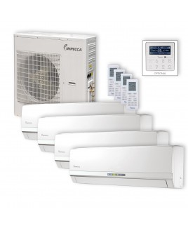 IMPECCA Flex Series 4 Wall-Mounted Indoor Ductless Split Units, and 39,000 BTU Outdoor Unit with Inverter Technology