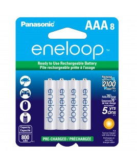 Panasonic eneloop AAA 8-Pack 800mAh Pre-Charged Batteries - Recharge up to 2100 times