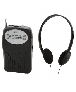 GPX Portable Handheld AM/FM Radio with Headphones