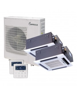 IMPECCA Flex Series Two Ceiling Cassette Indoor Ductless Split Units, and 39,000 BTU Outdoor Unit with Inverter Technology