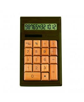 IMPECCA CB1203 12-Digits Bamboo Custom Carved Desktop Calculator - Walnut Color