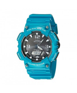 Casio 100M Water Resistant Self-Charging Solar Digital Analog Watch Glossy Turquoise Resin Band with Black/White Face