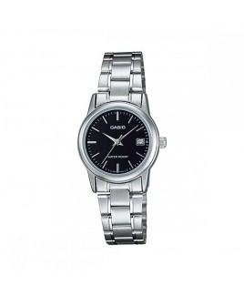 Casio Ladies 3-Hand Analog Water Resistant Watch with Black Face and Stainless Steel Band