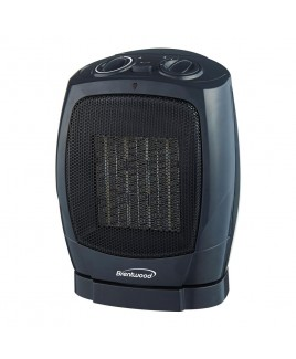 Brentwood Ceramic Oscillating Heater/Fan, Black