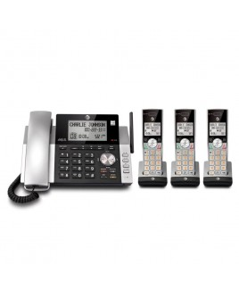 AT&T 3-Handset DECT 6.0 Expandable Corded/Cordless Answering System with Dual Caller ID/Call WaitingID, Silver/Black