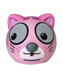 Zoo-Tunes Compact Portable Bluetooth Stereo Speaker, Pink Kitten