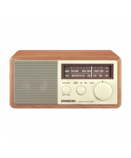 Sangean AM/FM Analog Wooden Cabinet Receiver with LED Indicator, Wlanut