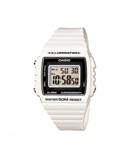 Casio Classic Square Digital 50M Water Resistant, White Resin Band/Black Neutral Face