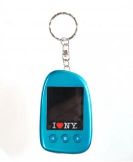 """I Love NY DPV151 1.5"""" Digital Photo Keychain Hold up to 107 Photos - Blue"""