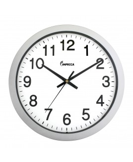IMPECCA 14 Inch Sweep Movement Wall Clock, Silver Frame
