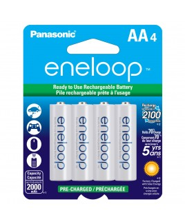 Panasonic eneloop AA 4-Pack 2000mAh Pre-Charged Ni-MH Batteries - Recharge up to 2100 times