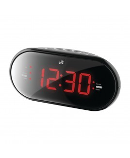 GPX Dual Alarm AM/FM Clock Radio with 1.2-inch RED LED Display, and AUX-in