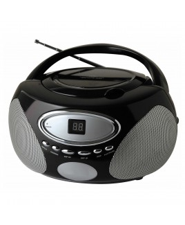 Sylvania Portable AM/FM CD Boombox with AUX Line-in, Black