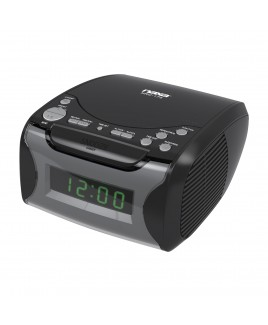 Naxa Dual Alarm Clock Radio with CD Player and USB Charge port