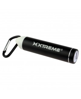 Xtreme 2600mAh Metallic Battery Bank with Carabiner, Black