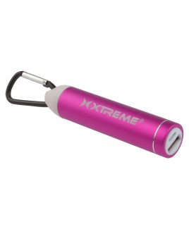 Xtreme 2600mAh Metallic Battery Bank with Carabiner, Pink