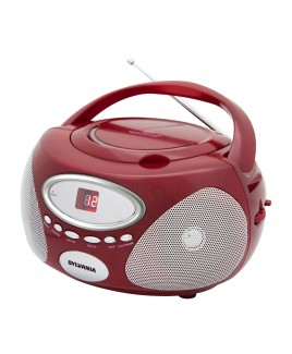 Sylvania Portable AM/FM CD Boombox with AUX Line-in, Red