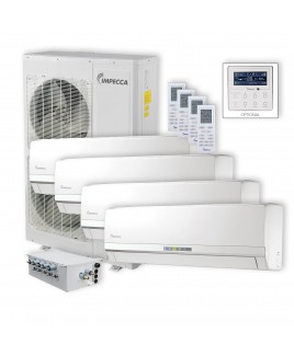 IMPECCA Flex Series 4 Wall-Mounted Indoor Ductless Split Units, and 52,900 BTU Outdoor Unit with Inverter Technology