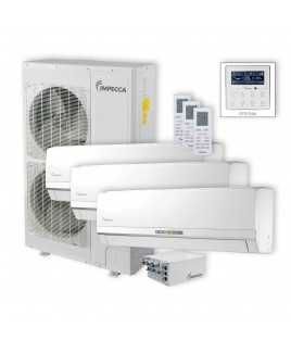 IMPECCA Flex Series 3 Wall-Mounted Indoor Ductless Split Units, and 52,900 BTU Outdoor Unit with Inverter Technology