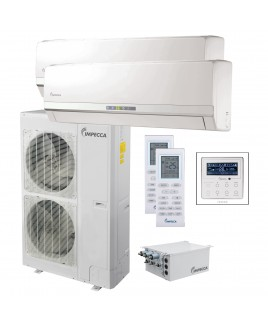 IMPECCA Flex+ Series Two Wall-Mounted Indoor Ductless Split Units, and 53,000 BTU Outdoor Unit with Inverter Technology