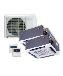 IMPECCA Flex Series Two Ceiling Cassette Indoor Ductless Split Units, and 29,000 BTU Outdoor Unit with Inverter Technology