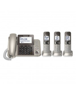 Panasonic Corded/Cordless Phone with Talking Caller ID and Answering Machine, 3-Cordless Handsets
