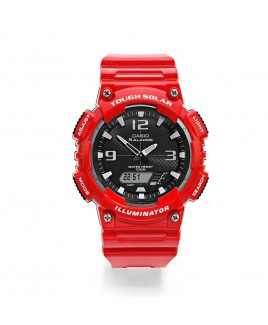Casio 100M Water Resistant Self-Charging Solar Digital Analog Watch Glossy Red Resin Band with Black/White Face