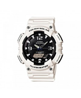 Casio 100M Water Resistant Self-Charging Solar Digital Analog Watch Glossy White Resin Band with Black/White Face