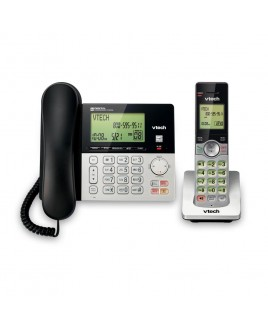 Vtech DECT 6.0 Expandable Corded/Cordless Phone with Answering System and Caller ID, Silver/Black