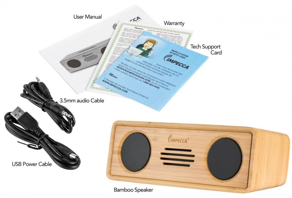 impecca 6 watt powerful bluetooth bamboo hi fi stereo speaker system. Black Bedroom Furniture Sets. Home Design Ideas